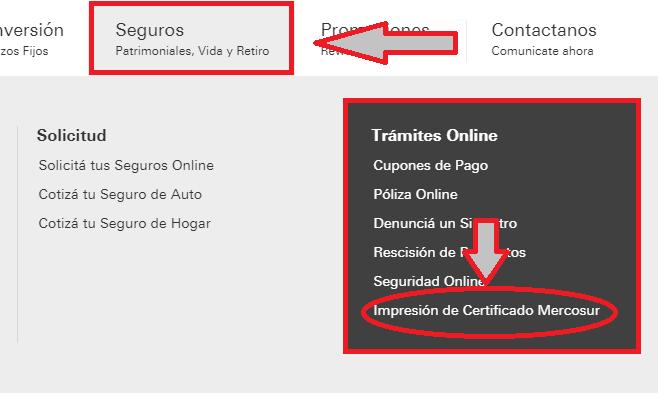 imprimir certificado mercosur seguro hsbc